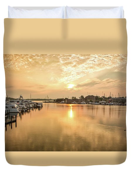 Sunrise On Spa Creek Duvet Cover
