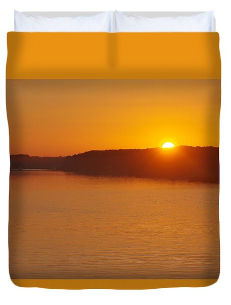 Sunrise On The Ferry Duvet Cover by Greg Graham