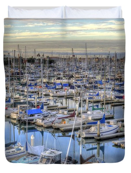 Sunrise On The Harbor Duvet Cover