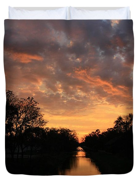 Sunrise On The Illinois Michigan Canal Duvet Cover