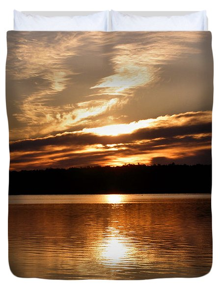 Sunrise On The Turtle Flambeau Flowage Duvet Cover by Angie Rea