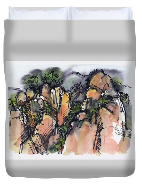 Sunrise On The Yellow Mountain, China Duvet Cover
