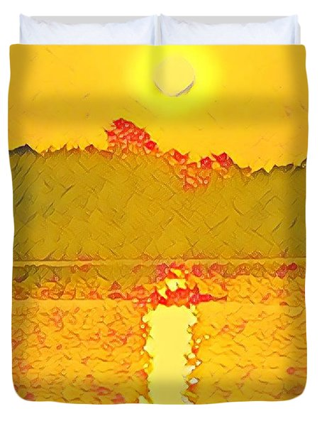 Sunrise On Town Lake Duvet Cover