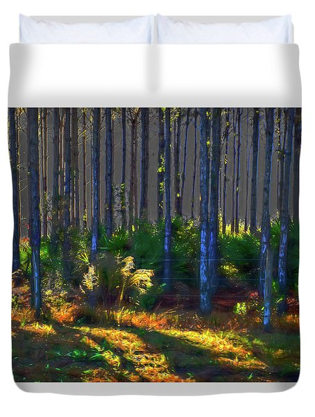 Sunrise On Tree Trunks Duvet Cover