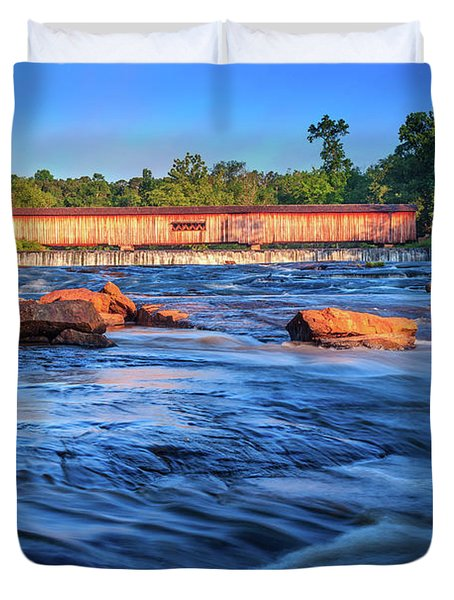 Sunrise On Watson Mill Bridge Duvet Cover