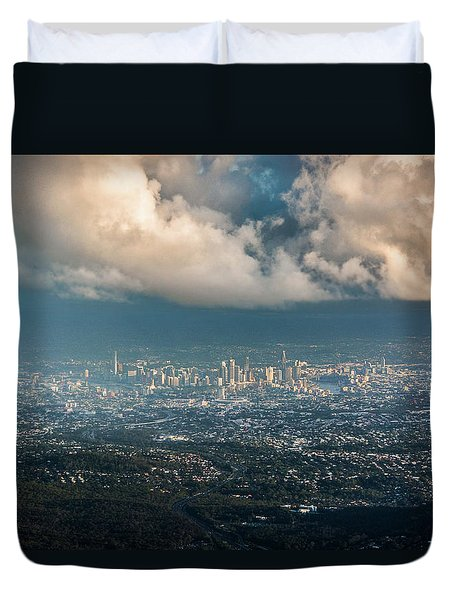 Duvet Cover featuring the photograph Sunrise Over A Cloudy Brisbane by Parker Cunningham
