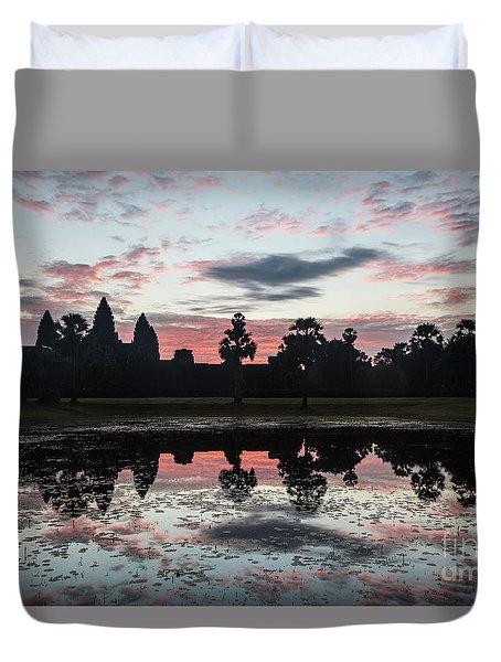 Sunrise Over Angkor Wat Duvet Cover