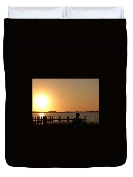 Duvet Cover featuring the photograph Sunrise Over Assateaque by Donald C Morgan