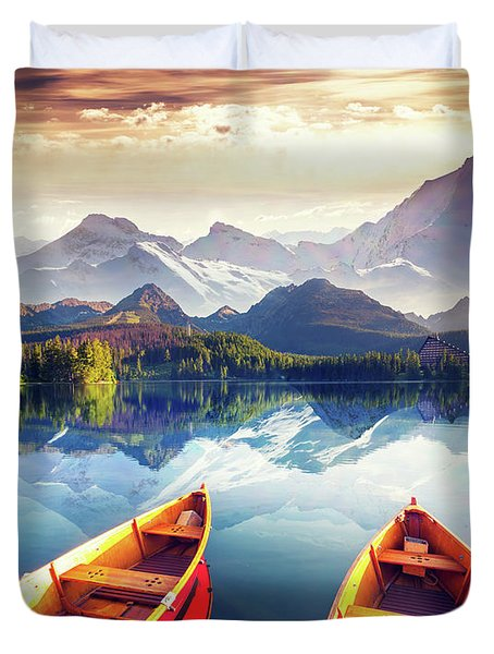 Sunrise Over Australian Lake Duvet Cover