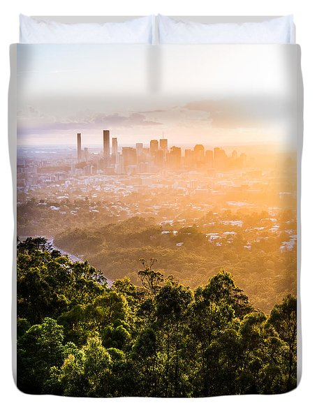 Sunrise Over Brisbane Duvet Cover