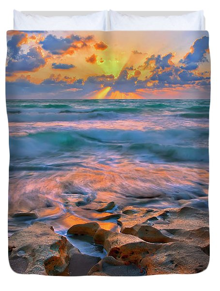 Sunrise Over Carlin Park In Jupiter Florida Duvet Cover