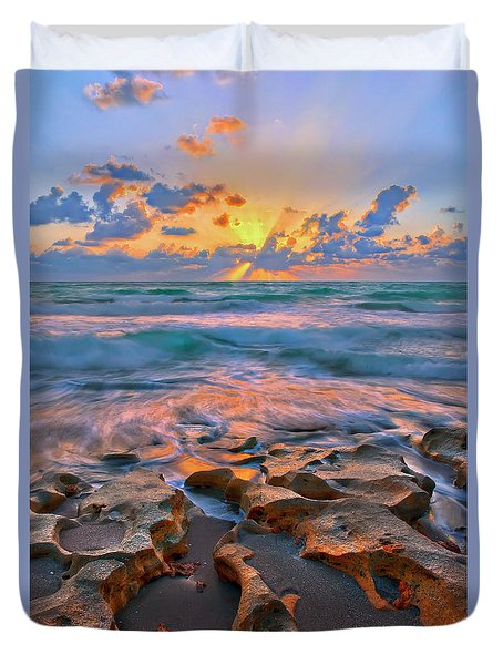 Duvet Cover featuring the photograph Sunrise Over Carlin Park In Jupiter Florida by Justin Kelefas