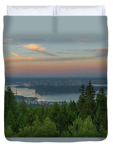 Sunrise Over City Of Vancouver Bc Canada Duvet Cover by David Gn