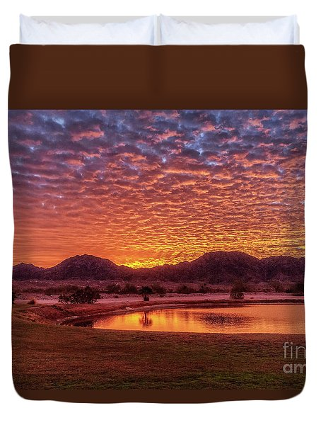 Duvet Cover featuring the photograph Sunrise Over Gila Mountain Range by Robert Bales