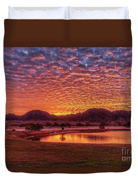 Sunrise Over Gila Mountain Range Duvet Cover by Robert Bales