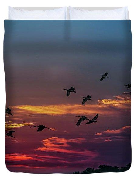 Sunrise Over Grape Hammock Duvet Cover