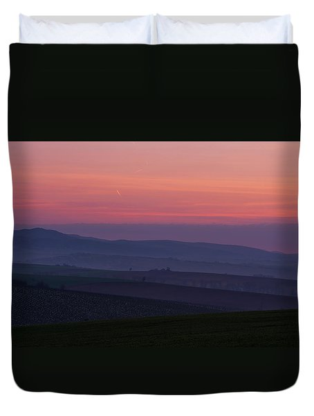 Duvet Cover featuring the photograph Sunrise Over Hills Of Moravian Tuscany by Jenny Rainbow