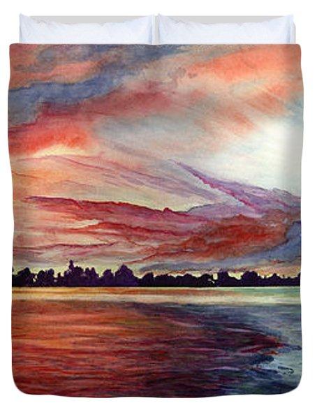 Sunrise Over Indian Lake Duvet Cover