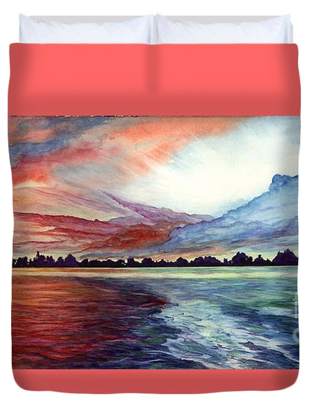 Sunrise Over Indian Lake Duvet Cover