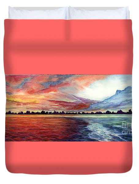 Sunrise Over Indian Lake Duvet Cover by Nancy Cupp
