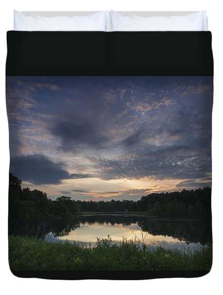Sunrise Over Indigo Lake Duvet Cover