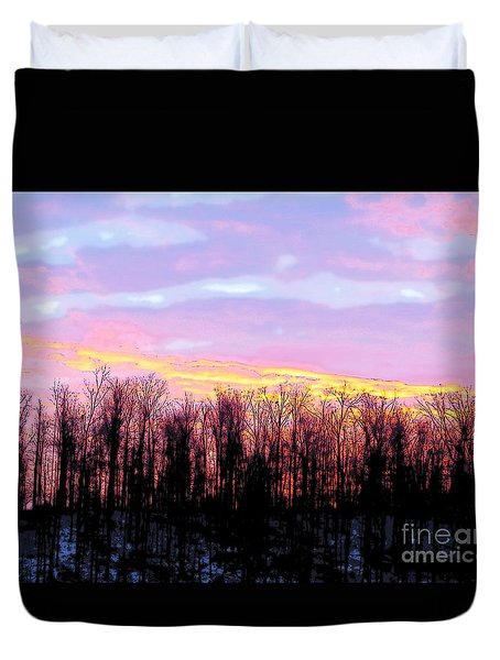 Sunrise Over Lake Duvet Cover