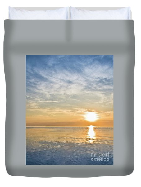 Sunrise Over Lake Michigan In Chicago Duvet Cover
