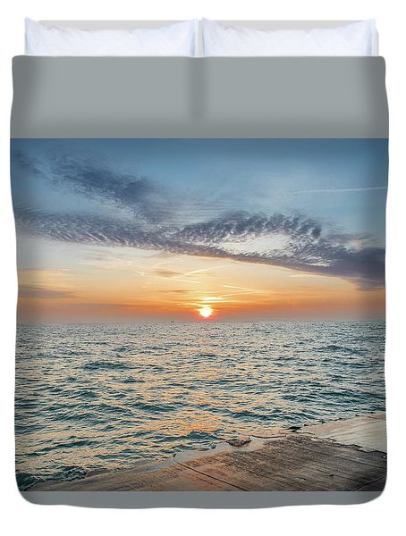Duvet Cover featuring the photograph Sunrise Over Lake Michigan by Peter Ciro