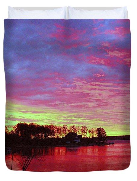 Sunrise Over Lake Murray Duvet Cover