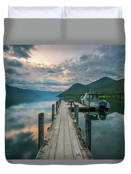 Sunrise Over Lake Rotoroa Duvet Cover