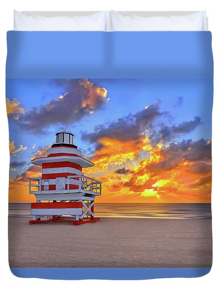 Duvet Cover featuring the photograph Sunrise Over Lifegaurd Stand On South Miami Beach  by Justin Kelefas