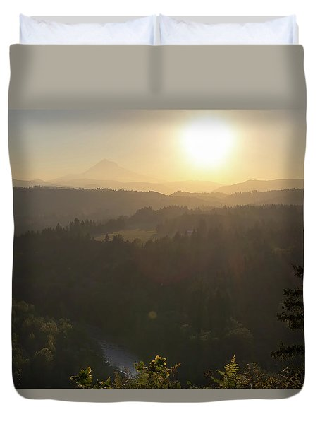 Sunrise Over Mount Hood And Sandy River Duvet Cover by David Gn