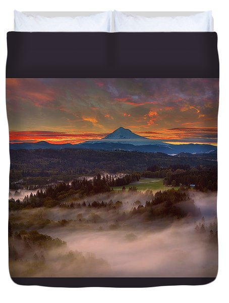 Sunrise Over Mount Hood And Sandy River Valley Duvet Cover by David Gn