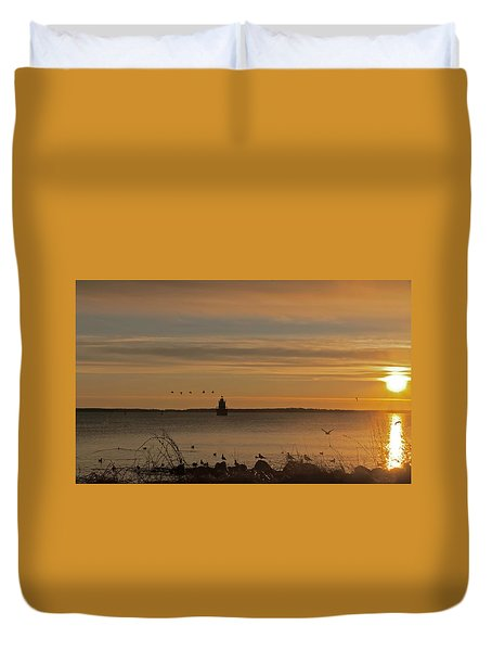 Sunrise Over New Bedford Duvet Cover