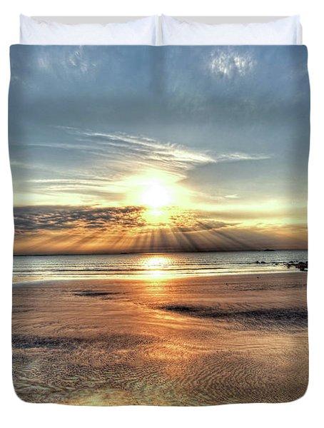 Sunrise Over Red Rock Park Lynn Ma Kings Beach Duvet Cover