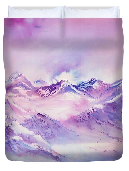 Swiss Mountains Early Morning Duvet Cover