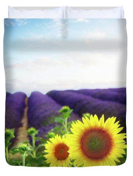 Sunrise Over Sunflower And Lavender Field Duvet Cover