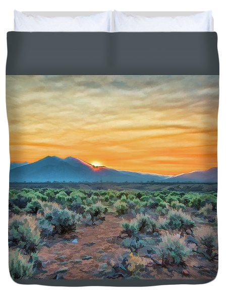 Sunrise Over Taos Duvet Cover