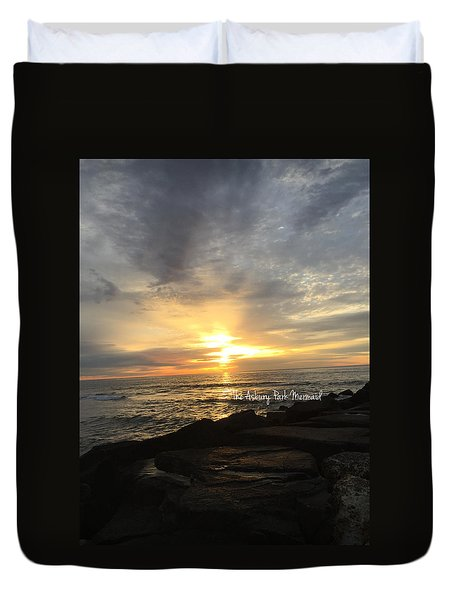 Sunrise Over The Asbury Park Waterfront Duvet Cover