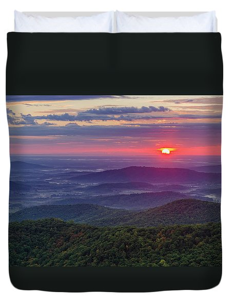 Duvet Cover featuring the photograph Sunrise Over The Blue Ridge by Lori Coleman