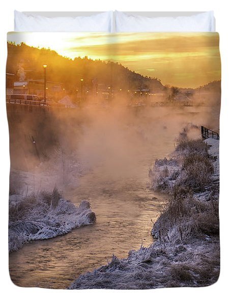 Duvet Cover featuring the photograph Sunrise Over The Fall River by Bill Gabbert