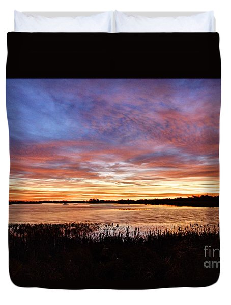 Duvet Cover featuring the photograph Sunrise Over The Marsh by Larry Ricker