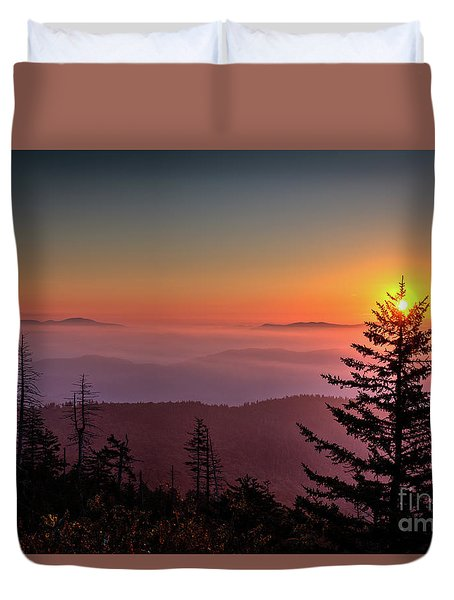 Duvet Cover featuring the photograph Sunrise Over The Smoky's IIi by Douglas Stucky
