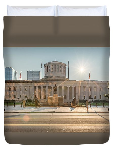 Sunrise Over The Statehouse Duvet Cover