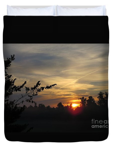 Sunrise Over The Trees Duvet Cover