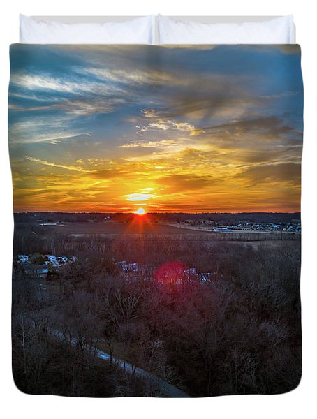Sunrise Over The Woods Duvet Cover