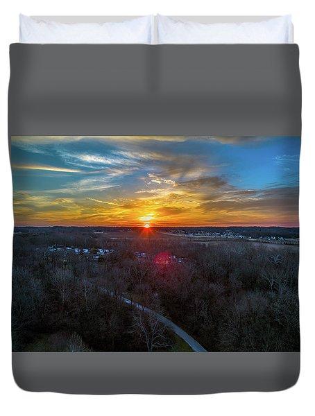 Sunrise Over The Woods Duvet Cover