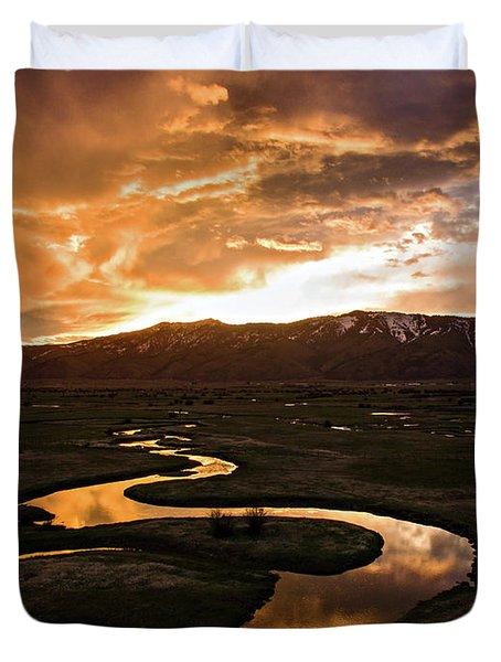 Sunrise Over Winding River Duvet Cover