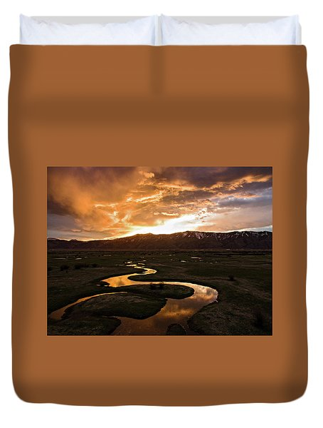 Sunrise Over Winding River Duvet Cover