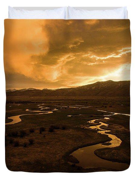 Sunrise Over Winding Rivers Duvet Cover